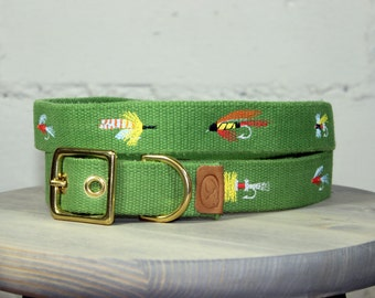 Fly Fishing Lures Dog Collar - Green