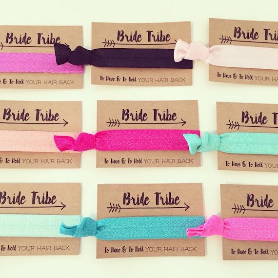 CHOOSE YOUR COLORS Bride Tribe Bachelorette Hair Tie Favors | Bride Tribe Hair Tie Favors, Custom Color Bachelorette Party Hair Tie Favors