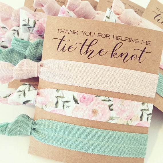 Hair Tie Bridesmaid Gift | Natural Sage Green + Blush Peony Floral Hair Tie Favors, Blush Pink Peonies, Bridesmaid Gift, Wedding Party Gift