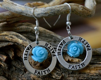 Celestial Blue Rose of Faith  Open Circle Spiritual Dangle Medallion Silver Earrings