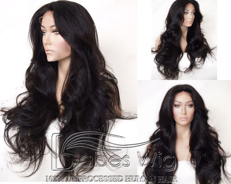 Long Wavy 100% Unprocessed Real Human Hair Lace Front Wigs
