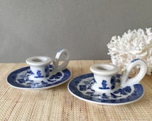 Blue willow candle holders   blue and white candleholders   chinoiserie decor   vintage blue and white candlesticks   vintage blue willow