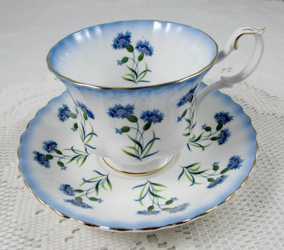 Royal Albert Blue Thistle Tea Cup and Saucer Bone China