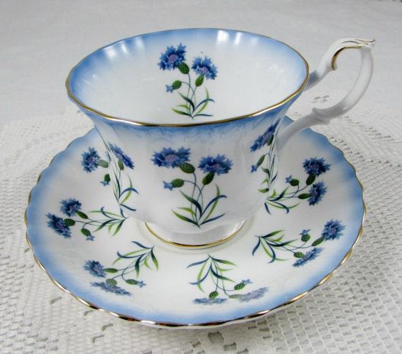Royal Albert Blue Thistle Tea Cup and Saucer Bone China