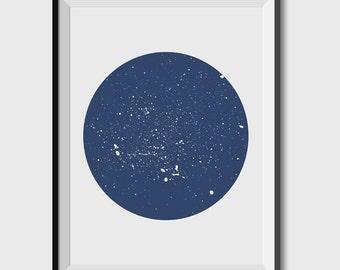 Night Sky Print, Constellation Decor, Blue Wall Art, Blue Decor, Navy Wall Art, Downloadable Prints, night sky Printable Art, Print Download