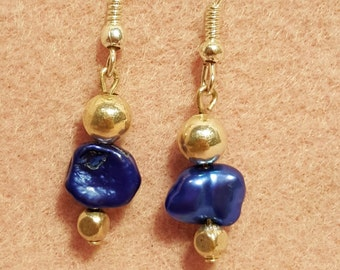 Royal Blue and Silver Accented Earrings