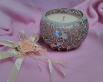 soy candle, gormet vanilla scented,silver mosaic jar