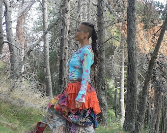 colorful skirt in patchwork with multiple fabrics