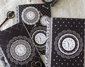 Set of 3 notebooks - illustrated notebooks - mini notebooks - clocks - victorian - Miss Shadow - Tick Tock