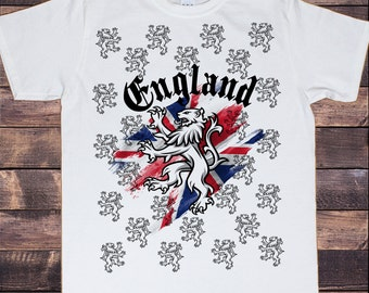 Men's White T-Shirt England Union Jack All Over Lions Proud British Print TSY6