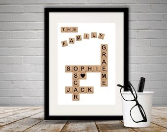 Personalised Family Scrabble Print Unframed