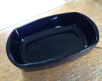 Vintage black Amethyst glass oblong dish/ bowl with pebbled bottom