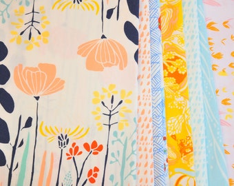 Fabric destash Meadow designed by Leah Duncan for Art Gallery fabrics 100% Cotton Quilting collection of  8 Fat Quarters