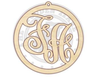 Two Letter Monogram - Monogram Door Hanger - Monogram for Front Door - Wall Hanging - Unfinished Wood - 210169