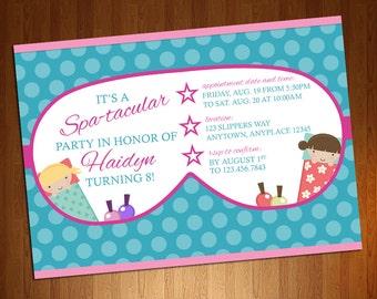 Spa Party Invite - Slumber Party Invite - Sleepover Invite - Slumber Party Birthday - Spa Invitation - Little Girl Sleepover - Spa Birthday
