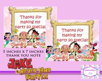 DIGITAL/PRINTABLE Jake and the Neverland Pirates Thank You note cards