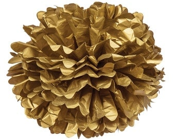 15 In Gold Tissue Paper Flower Poms Pom Poms Paper Ball Peonies Hanging Decor Nursery Bridal Shower Birthday Party Wedding Decorations