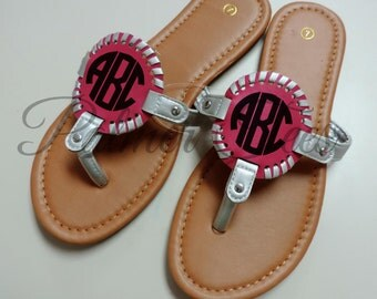 HOT PINK/SILVER Monogrammed Medallion Flip Flop Sandals (Embroidered / Personalized)