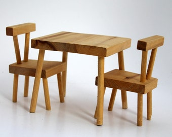 Doll Table & Chairs Set, Small Wooden Doll Furniture,  Handcrafted, Alberta Canada