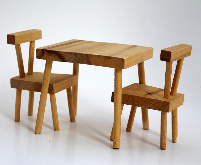 Doll Table  Chairs Set Small Wooden Doll Furniture