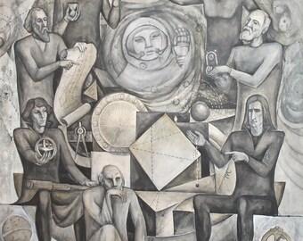 Vintage Surrealist Gouache And Pencil Painting Figures