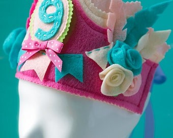 Birthday Crown, Girl Birthday Crown, Flower Birthday Crown, Pink Birthday Crown, Baby Crown, Princess Birthday, 1st Birthday Girl Crown