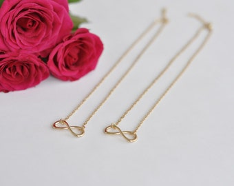 Maid of honor gift - 2 x infinity necklace in gold