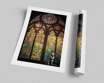 Banksy Stained Glass Cathedral Archival Canvas Print