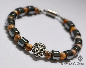 Men's bracelet Stackable lion bracelet Healing crystal bracelet Hematite & Picture Jasper Beaded energy bracelet Spiritual yoga jewelry gift