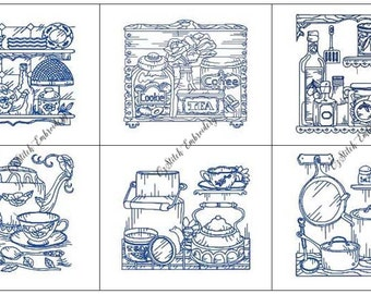 INSTANT DOWNLOAD Vintage Kitchen Redwork Embroidery Designs 1-10