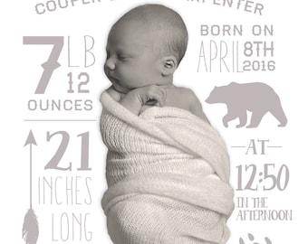 Customized birth announcement wilderness