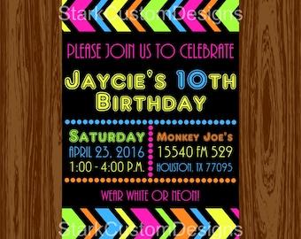 Neon Birthday Party Invitation - Glow in the Dark - Digital Party Invitation - Printable