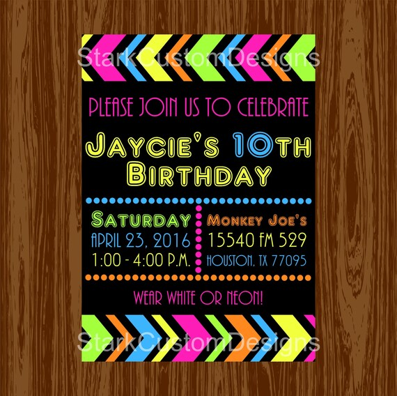 Neon Birthday Party Invitation Glow in the Dark Digital