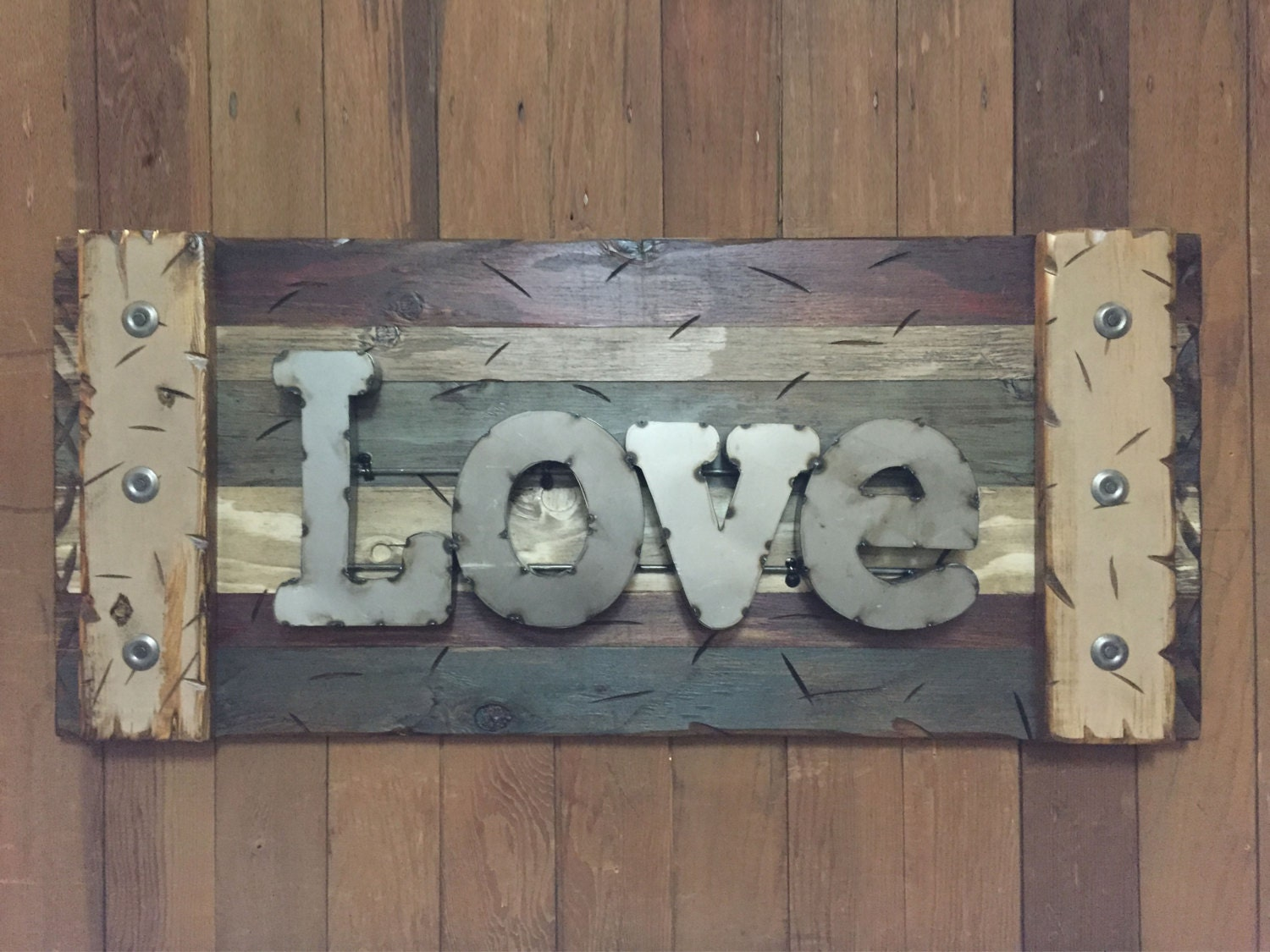 Navy Blue Metal Wall Art: LOVE Rustic Sign Reclaimed Shutter Distressed Industrial