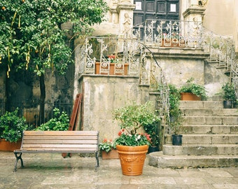 Europe Photography, Italy, Sicily, Europe Decor, Cefalu, Palermo, wall art, garden, balcony, architecture, travel photo, fine art print