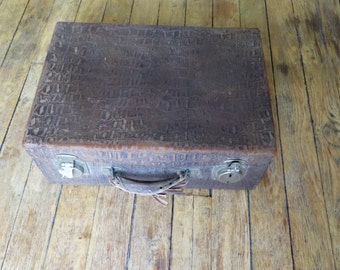 French old and vintage paper suitcase - crocodile/alligator texture- 1950s