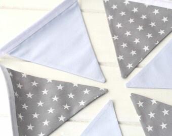 Blue and Grey Star Nursery Bunting