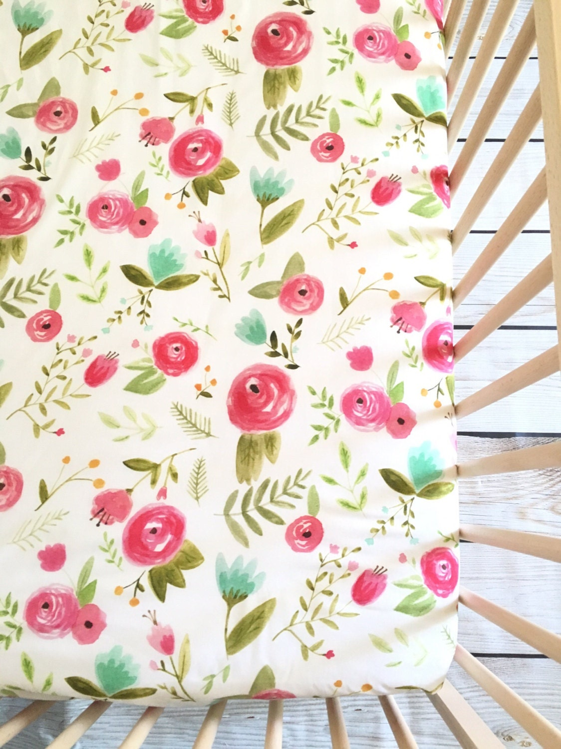 Rose Flower Design Baby Nursery Kids Bedroom Wooden: Crib Sheet: Pink Peony. Fitted Crib Sheet. Floral Crib Sheet