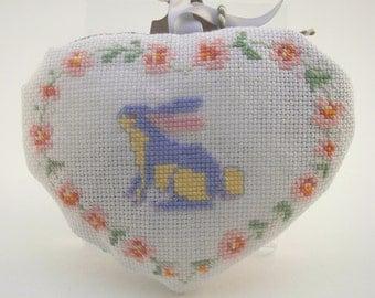 hand embroidered rabbit lavender heart sachet