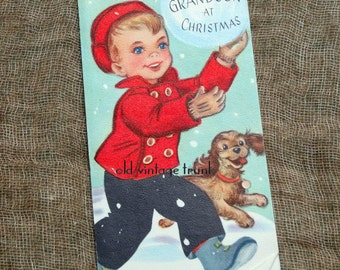 Vintage Boy With Snowball and Puppy Dog Grandson Christmas Card Gibson