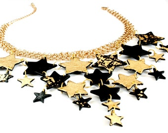 Large Statement necklace, Gold star necklace, Stars necklace, Collar necklace, Polymer clay necklace, Stars necklace, Black star necklace