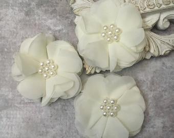 Ivory flower, chiffon flower, pearl flower, fabric flower, headband flower, supply flower, ballerina flower