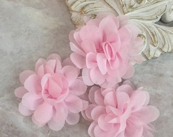 MINI Pink chiffon flower, chiffon flower, flower puff, material flower, headband flower, DIY supplies, fabric flower,