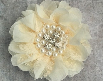 Chiffon and lace flower, large flower, ivory flower, lace flower, flower puff, flower supplies, DIY supplies,
