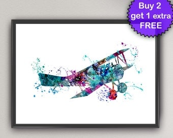 AIRPLANE Watercolor Art Print Kids Nursery Decor Ink Vintage plane airplane Painting Art Print Wall Art Poster Giclée Wall (Nº2)