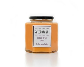 Orange Candle, Orange Scented Candle, Large Candle, Orange Scent, Fruity Candle, Candle, Luxury Candle, Fruity Scent, Sweet Candle