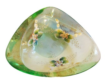 Elegant Antique Bohemian Art Glass Dish Czechoslovakian Art Glass Green Glass Dish