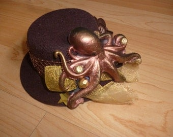 Steampunk mini hat with Steampunk Couture Octopus