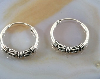Hoops, Bali style 925 sterling silver - 6107