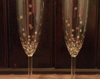 Gold Confetti Champagne Flutes (set of 2)